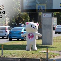 Мишка пиццерии Макитао на фоне плаката Икеа в Краснодаре